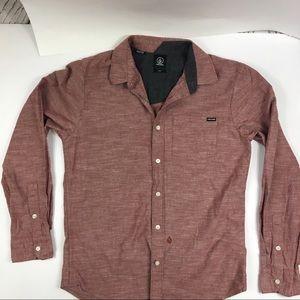Volcom  Men's Button up Muted Cranberry Shirt Sz M